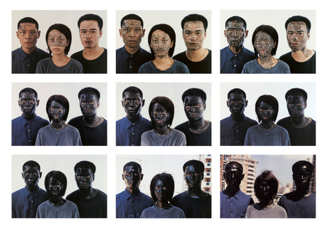 Zhang Huan China born 1965, lived in United States 1998– Shanghai family tree (2001) type C photographs (a) (50.7 x 76.2 cm); (b) (50.7 x 76.1 cm); (c) (50.6 x 76.1 cm); (d) (50.6 x 76.1 cm); (e) (50.7 x 76.1 cm);  (f) (50.6 x 76.1 cm); (g) (50.6 x 76.1 cm); (h) (50.6 x 76.1 cm); (i) (50.6 x 76.2 cm) (a-i) 152.0 x 228.3 cm (overall) National Gallery of Victoria, Melbourne Purchased with funds donated by Jason Yeap and Min Lee Wong, 2008