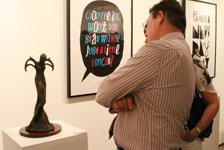 Elzunia Rejmer sculpture and Adam Rowe print