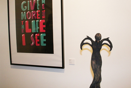 Adam Rowe print and Elzunia Rejmer sculpture