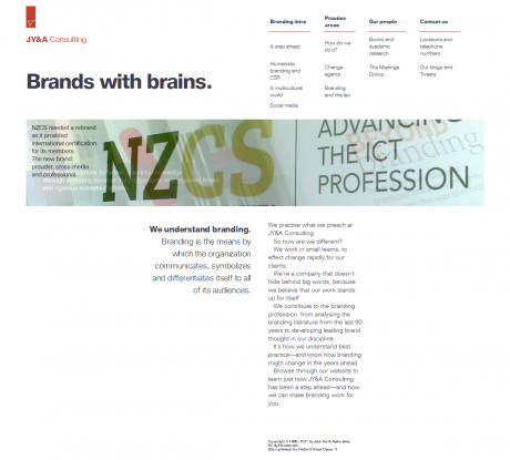 JY&A Consulting's new website: embedded fonts all round, but the small type is not very sharp.
