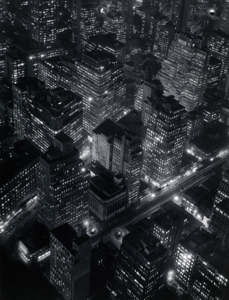 Berenice Abbott, American 1898-1991, worked in France 1921-29, New York at night 1932, printed c.1975, gelatin silver photograph, 34.1 x 26.1cm, National Gallery of Victoria, Melbourne,Given in memory of Rosa Zerfas (1896-1983), 1985